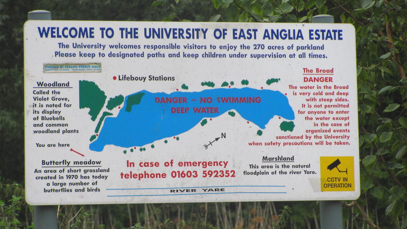 University of East Anglia UEA lake walk