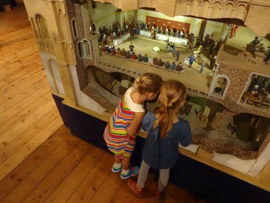 Children exploring the model of Norwich Castle Keep-credit Mark Ivan Benfield