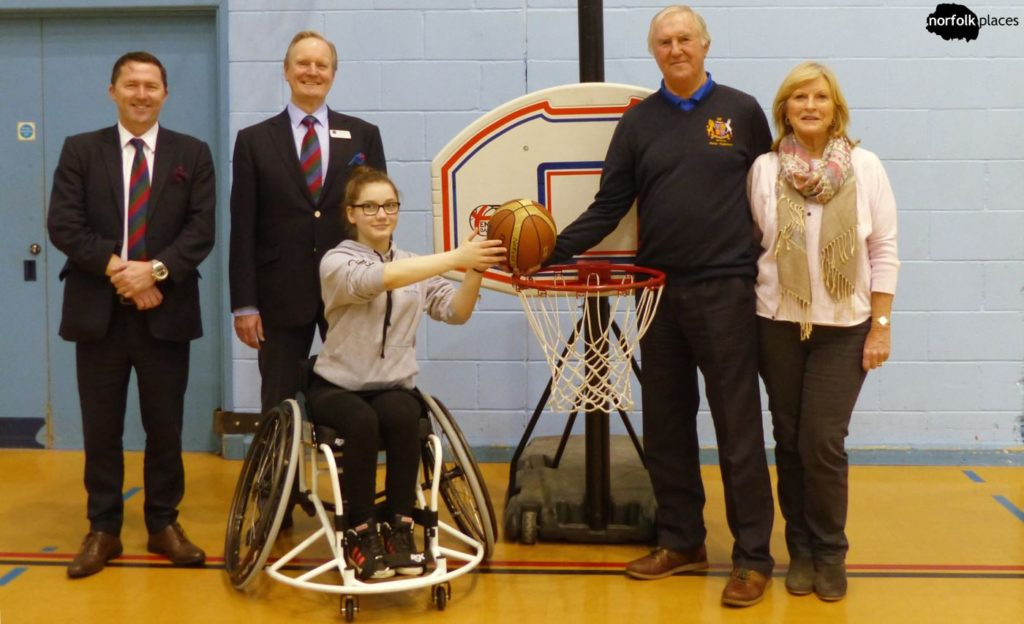 Norwich Low Riders Wheelchair Basketball - Rhiannan presented with new sports wheelchair by Fakenham Golf Club Seniors, Lord's Taverners and Lady Taverners