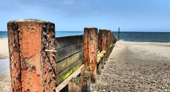 Beach groynes Eccles Norfolk NorfolkPlaces