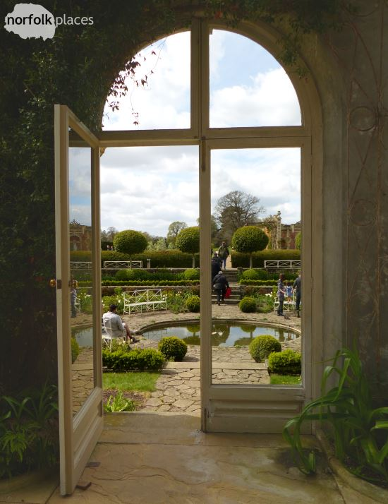 Somerleyton Hall view of sunken garden from orangery