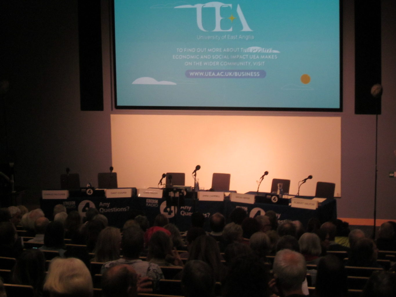 Getting ready for Any Questions panel at UEA
