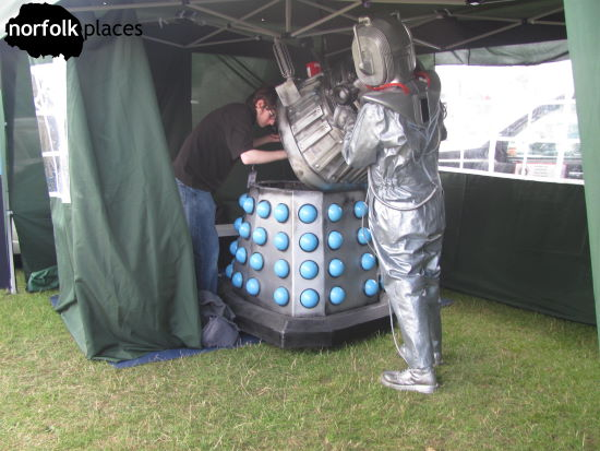 A Cyberman inspects a Dalek at Norwich Motor Show