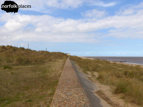 Caister on Sea beach sea defence wall