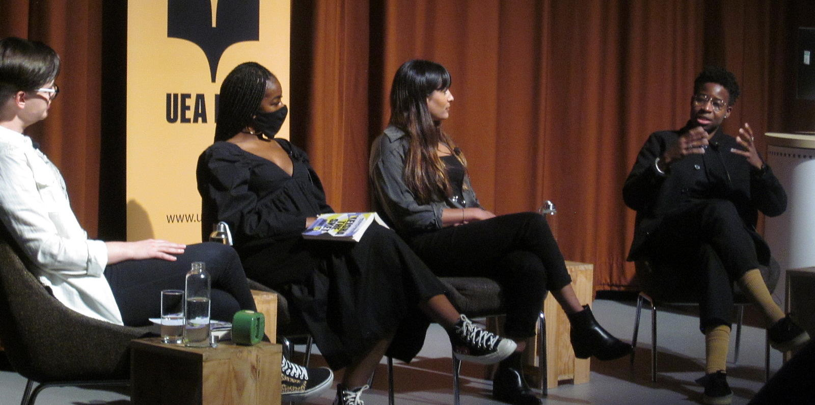UEA #Merky Books discussion - from left to right, KR Moorhead, Jade LB, Jyoti Patel and Lemara Lindsay-Prince.